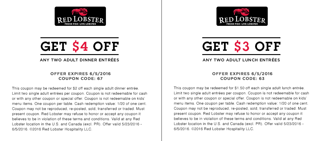 Discount coupons for red lobster