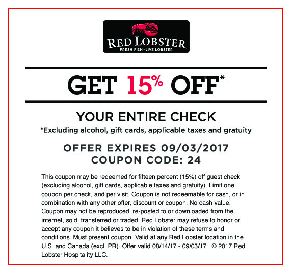 Red Lobster: 15% Off Your Entire Guest Check Coupon